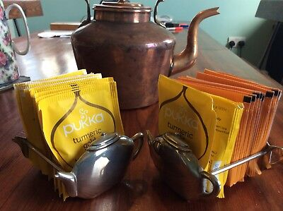 "2x SILVER PLATED FRUIT TEABAG HOLDERS-EACH HOLDS 30 APROX-4""-TEAPOT EACH END-EPN"