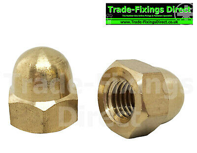 M12 (12MM) SOLID BRASS HEXAGON HEAD DOME NUTS ACORN NUTS Trade-Fixings Direct