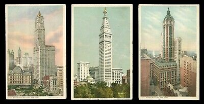 3 vintage postcards of early 20th Century New York skyscrapers