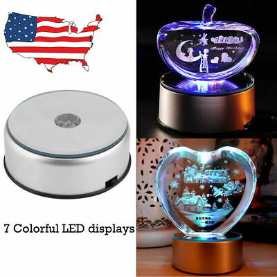 7 LED Color-Changing Light Crystal Crafts Figurine Display Stand Base Ornament