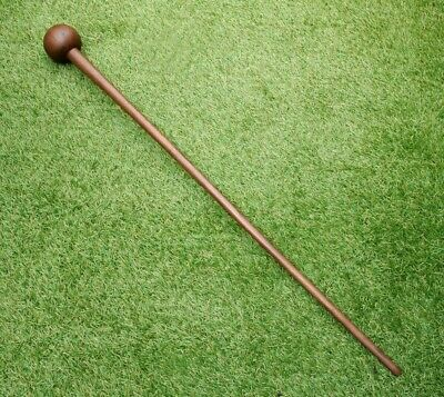 Victorian Antique Turned Hardwood Walking Stick with Large Spherical Handle.