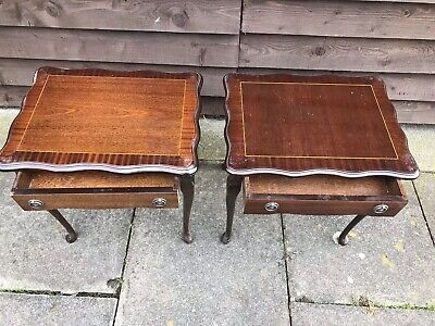 Pair Mahogany French Style Bedside Lamp Tables Serpentine Edge