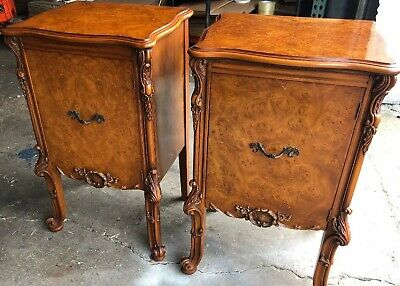 Pair Antique French Louis XV Rococo Nightstands in Walnut Burl & Carved