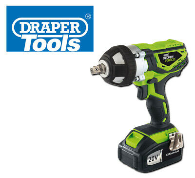 "Draper Storm Force Cordless Impact Wrench 1/2"" 20V 400Nm Torque Fast Charge Car"