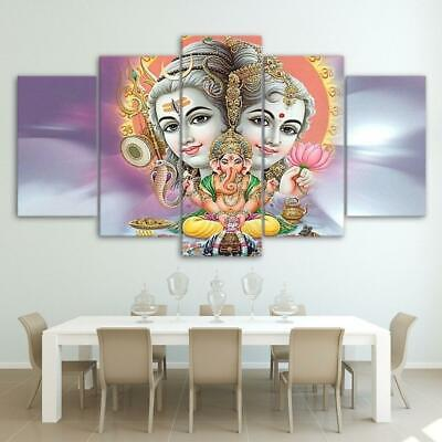 Hindu Gods Lord Shiva Parvati Ganesha Hinduism Framed 5 Piece Canvas Wall Art Pa