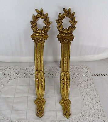 French Antique Ormolu Bronze Curtain Rod Holders Tie Backs Rod Brackets