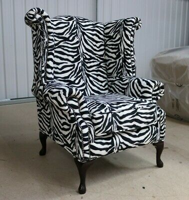 Georgian Chesterfield Queen Anne High Back Wing Chair Zebra Animal Print