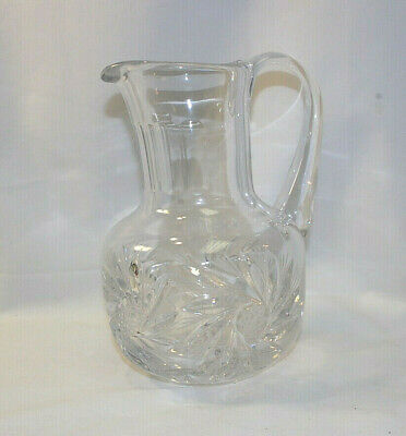 "Clear Cut Glass Crystal Heavy Water Pitcher 7"" Tall Vintage S8989"