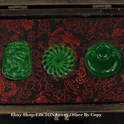 Collect China Art Handcarved Natural Green Jade 3 Pendant Amulet Wood Box