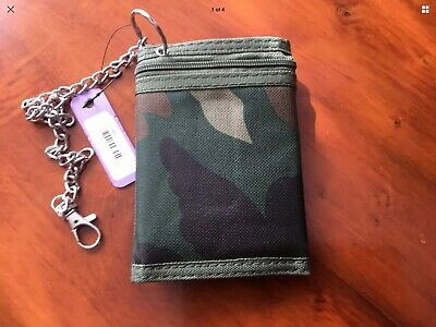 NEW Mens Boys Skull /&Crossbar  Tri-fold Wallet with Security Chain.