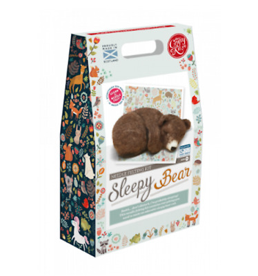 Needle Felting Kit, Sleepy Brown Bear Cub by The Crafty Kit Company