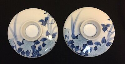 "Set of 2 Japanese Old Imari-ware Blue White Floral 3.5"" Lid for Bowl Dish"