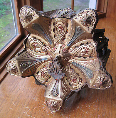 Antique Cast Iron Art Deco 5 Light Ceiling Fixture - Very Ornate