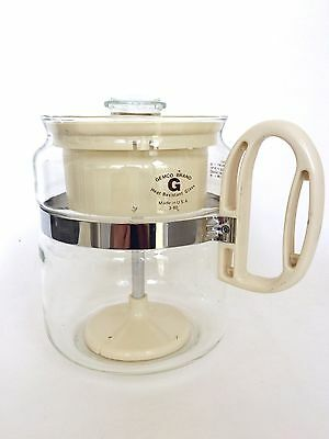 Vintage 4-8 Cup Gemco Heat Resistant Stove Top Glass Percolator Drip Coffee Pot