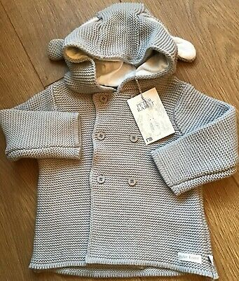 Mothercare Peter Rabbit Grey Knitted Hooded Cardigan Age 9-12 Months BNWT