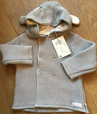 Mothercare Peter Rabbit Grey Hooded Knitted Cardigan Age 12-18 Months BNWT