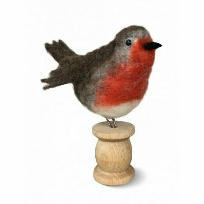 Needle Felting Kit, Red Robin on a Bobbin by The Crafty Kit Company