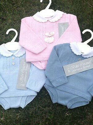 Spanish Knitted Romper Baby Girls Boys Pink Blue White 0-3 3-6 Mths 🎀 2 Piece