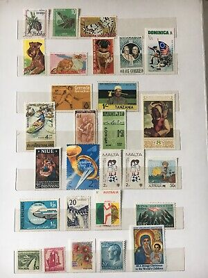 Vstamps Lot of 28 Different Worldwide Stamp Collection Unused & MNH&used