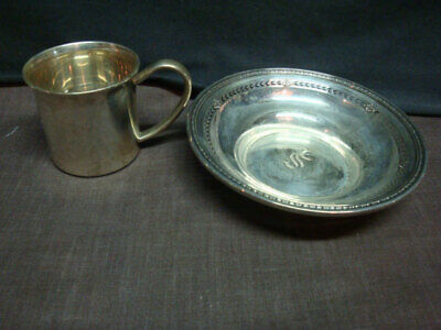 Lunt Sterling Silver Baby Cup and Small Bowl
