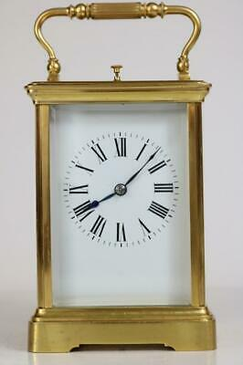 ANTIQUE FRENCH REPEATING CARRIAGE CLOCK gilt bronze grande corniche case WORKING