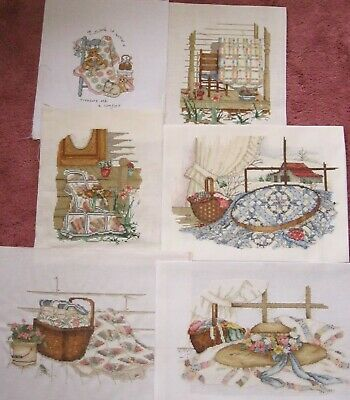 6 Finished Counted Cross Stitch Unframed~Romantic Country Quilt's & Hat~Barn