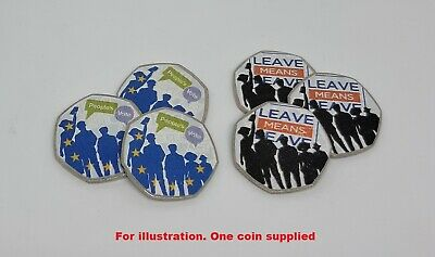 Unofficial Brexit 50p coin - Leave Remain - colour decal sticker novelty fifty