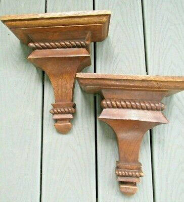 Pair Vintage Carved Wood Wall Shelf / Sconce Scrollwork Brass Hanging Hardware