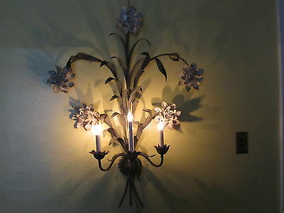 Vintage Tole Floral Sconce Made In Italy Three Arm  LARGE All Original