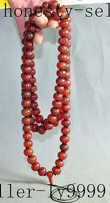 """25"""" chinese tibet buddhism old Agate carving 108 buddha Beads Amulet necklace"""