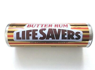 "Life Savers Butter Rum Metal 7"" Tin with Lid (Empty)"