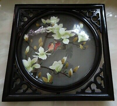 Vintage Chinese rosewood  table screen/wall decor with embroidered birds