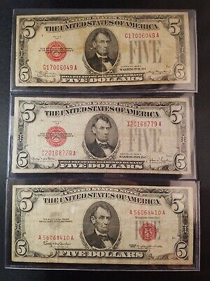 THREE $5 Red Seal U.S. Notes 1928 & 1963