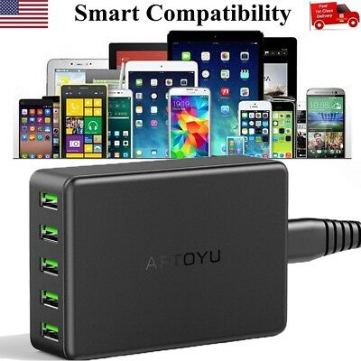 5-Port Multi【Smart Charging】Station USB Wall Charger Desktop Travel Hub 10A 50W