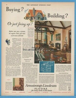1929 Armstrong Linoleum English Cottage Floor Plan by William Clifford Jr Ad