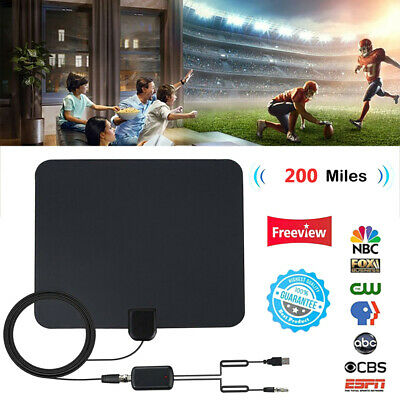200Mile 1080P HD Digital Indoor Amplified TV Antenna HDTV with Amplifier VHF/UHF