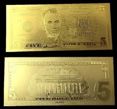 Billet plaqué OR ( GOLD Plated Banknote ) -  USA 5 dollars USD Abraham Lincoln