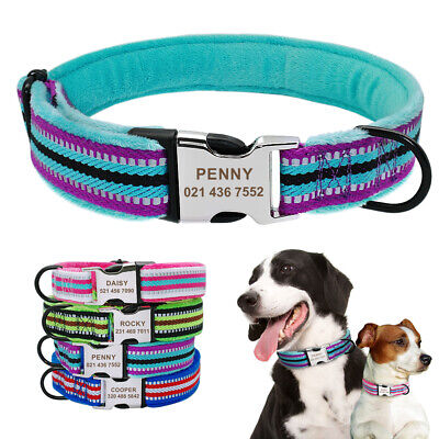 Reflective Personalized Dog Collar Nylon Custom Engraved Buckle Safety for Dogs