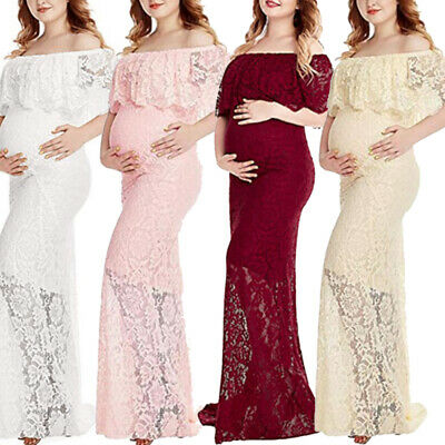 Women Maternity Long Maxi Dress Pregnant Photography Lace Party Gown Props Photo