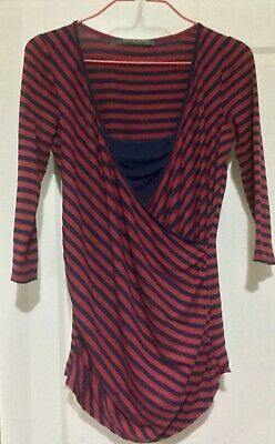 Blooming Marvellous: Deep Red & Navy Crossover 3/4 sleeve maternity top Size 10