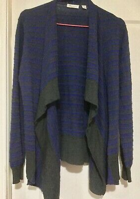 ripe maternity: Grey & bright blue stripe cotton maternity cardigan Size M or 12