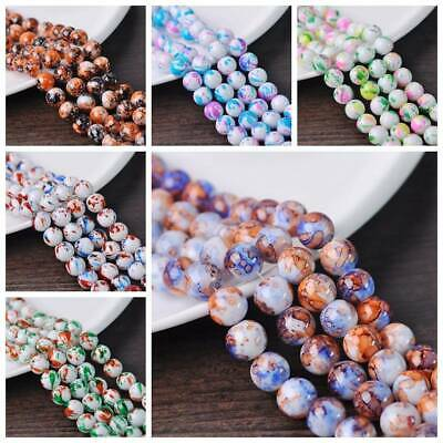 10Pcs 12mm Round Spots Coated Opaque Glass Spacer Loose Beads DIY Jewelry Making