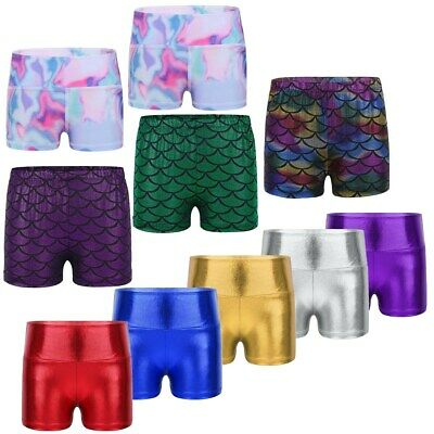 Girls Kids Metallic Hot Pants Dance Shorts Sport Active Gym Yoga Tutu Pants 3-10