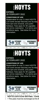 Lux Hoyts Movie Voucher x 2 passes for any movie. Will send email Upon payment!