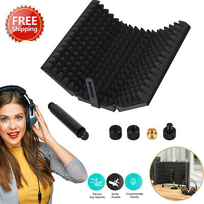 Adjustable Studio Microphone Isolation Shield Mic Sound Dampening Foam Reflector