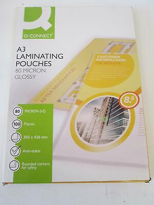 Qconnect A3 Glossy Laminating Pouches 80x2 (160) micron Pack of 100