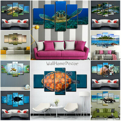 Turtle Sea Animal in Water 5 Pcs Canvas Wall Poster Painted Picture Home Decor