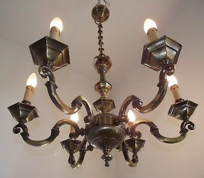 Large Vintage French Contemporary Style 6 Arm Bronzed Metal Chandelier 805