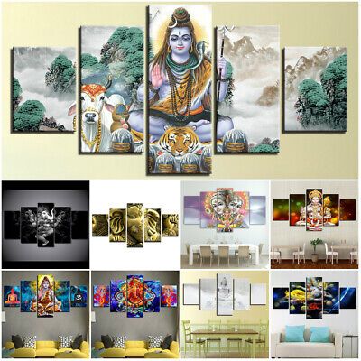Hindu God Shiva Ganesha Krishna Religious 5 Pcs Canvas Wall Poster Home Decor
