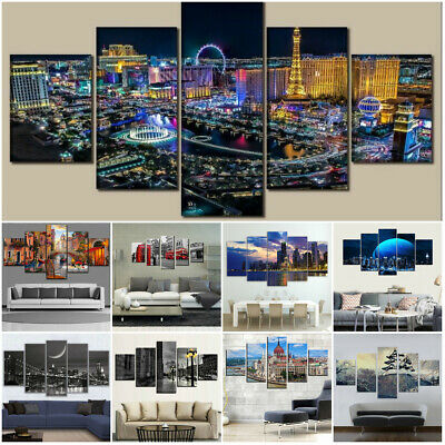 Modern City Landscape Skyview 5 Pcs Canvas Wall Poster Painted Home Decor